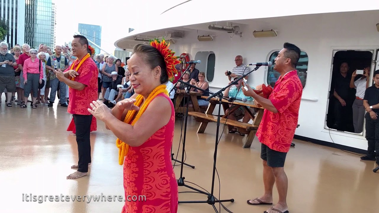 Hawaiian cultural ambassadors on a cruise